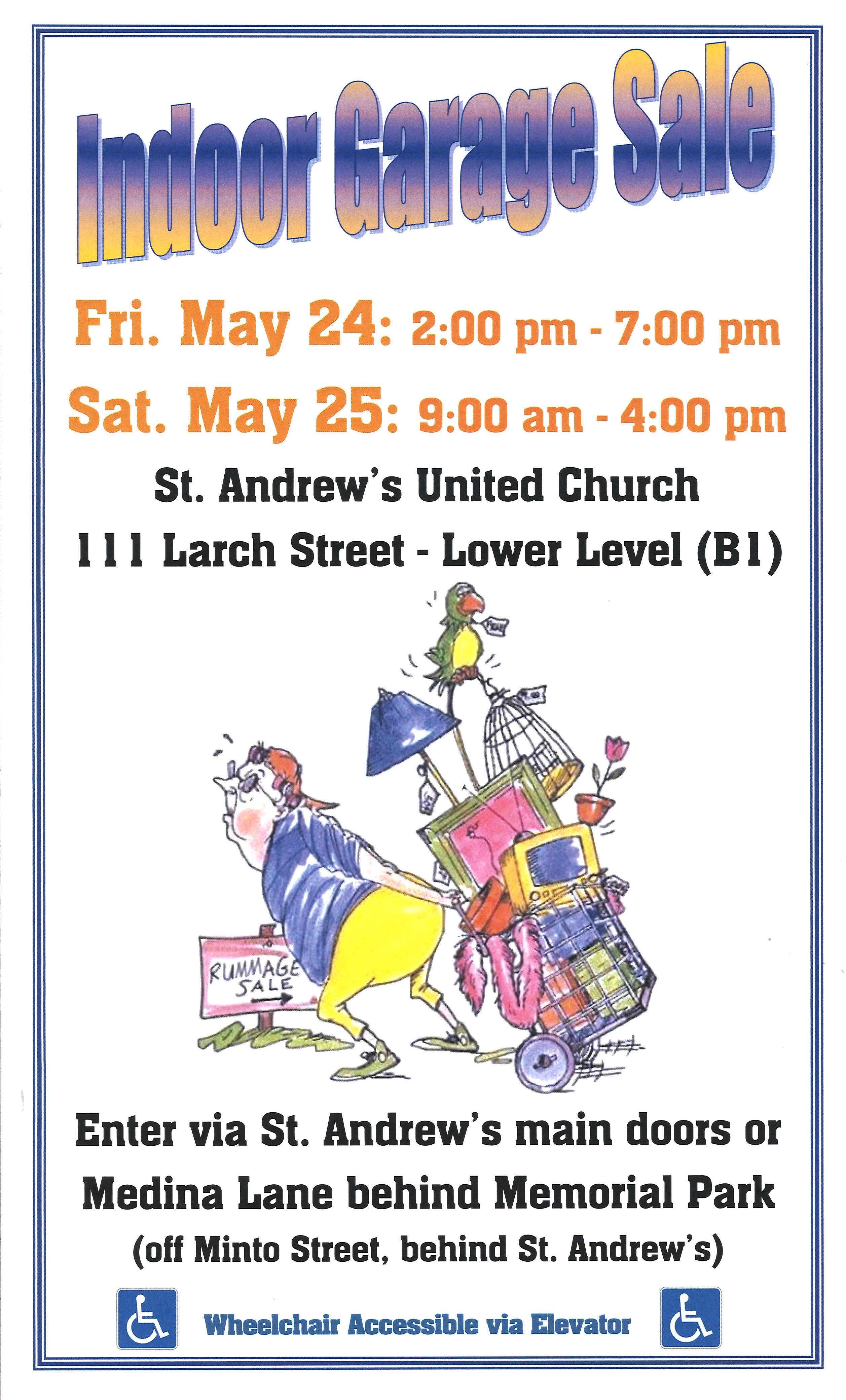 Indoor Garage Sale – May 24 & 25 | St  Andrew's United Church